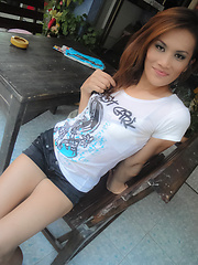 Ladyboy Ae shows her hard stick in amateur self shot photos