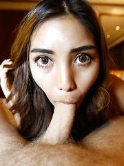 20yo pretty Thai ladyboy gets face full of cum from big white cock