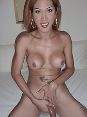 Big cock ladyboy Lek fucked bareback and creampied in short time