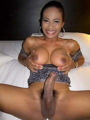 Jasmine has the thickest dark Ladyboy cock and bareback sex