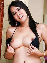 Sexy ladyboy strips and jerks big love tool