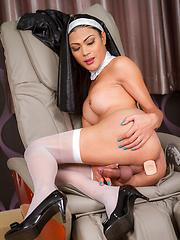 Naughty Nun strokes dick