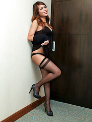 Ladyboy flashes her stocking tops and wanks