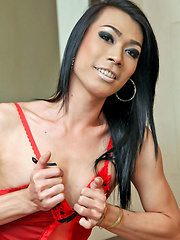 Well hung ladyboy jerks off in lingerie