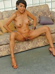 MILF ladyboy caught jerking her hot cock
