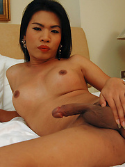 Naughty ladyboy loves jerking while you watch