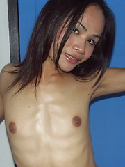 Needy naked Asian Ladyboy photographed in the slum where she lives