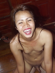 This cute ladyboy rides a cock before kneeling to swallow the load of cum