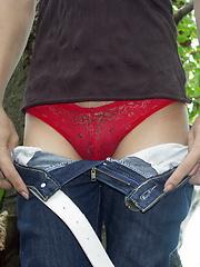 Very hot Thai ladyboy flashing her yummy love tools outdoors