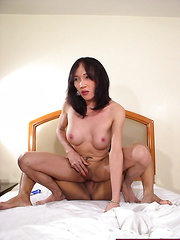Two ladyboys playing with sex toys before fucking each other
