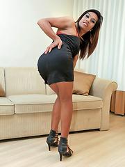 Ladyboy jerks off her cute uncut cock