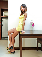 Watch tall slim Thai tranny's balls explode