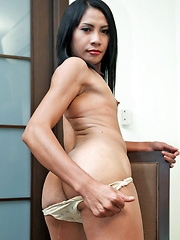 Hairy ladyboy whacks off until cum explosion