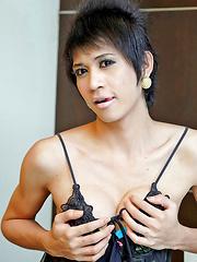 Spunky Thai ladyboy explodes with spunk
