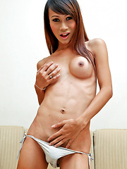 Sexy smiling Thai tranny jerks her cock