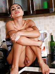 Horny Bibi playing in the kitchen