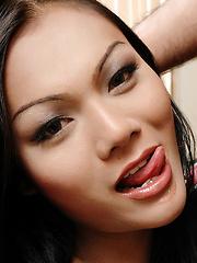Latex ladyboy gets her cock sucked before sex
