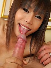 Thai ladyboy cutie Benz takes a hard cock
