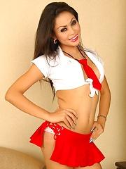 Asian Ladyboy Cheerleader Ola Striptease