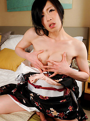 Renka returns today in tradional Japanese attire. This horny newhalf can't wait to lift up her kimono and give her fans an eye-popping view of that delicious hard she-cock! Stripping down to her slim, milky-white, birthday suit she rolls over onto he