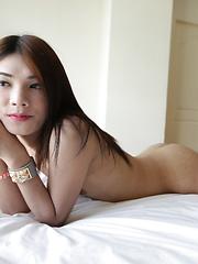 20 year old Thai ladyboy stripping for white tourist