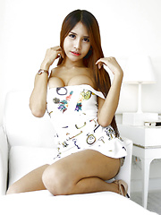 19 year old shy Thai ladyboy with big boobs sucks off white tourist