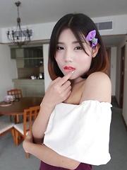 Petite shy Ladyboy from Bangkok shows not-so-innocent behavior