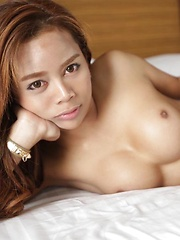 Horny Thai ladyboy with hard cock enjoys cumshots
